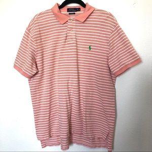 Men's polo orange and white stripped shirt size Xl